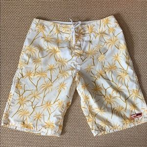 Board Shorts Style Swimsuit - Great Yellow Print